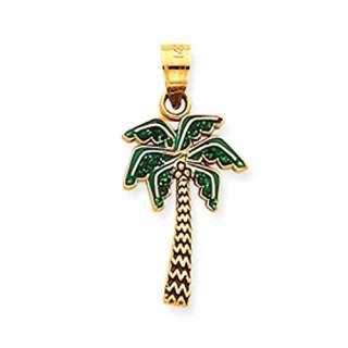 14k Yellow Gold Small Enamel Coconut Palm Tree Charm