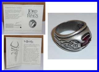 LOTR Lord Rings WITCH KING RING Original OFFICIAL With CERTIFICATE
