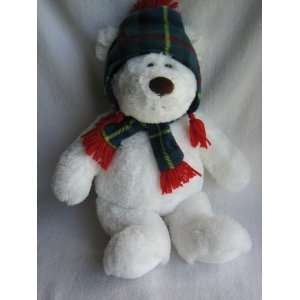 Gund 17 White Teddy Bear Plush with Plaid Flight Cap and