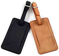 Lot 2 Leather Travel Airline Luggage Tags BLK/BROWN Tag