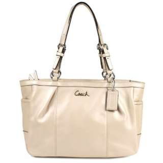 Coach Silver Leather Gallery East West Tote Bag 17721 Shell: Clothing
