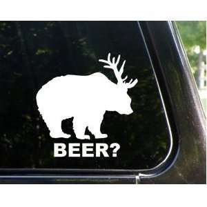 Bear + Deer  BEER? 5 WHITE funny decal / sticker