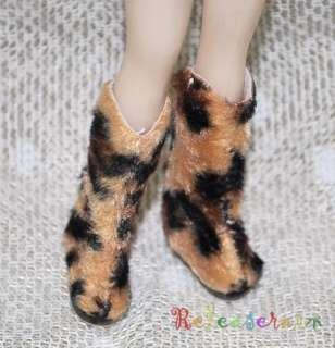 Blythe Pullip Shoes Fur Brown/Black Leopard Boots