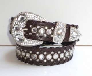 Western Rhinestone Studded Dark Brown Leather Belt M L