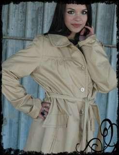 Vintage 70s Tie Belt Tan Trench Rain Coat
