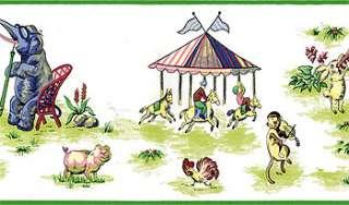 CIRCUS ANIMALS Wallpaper WALL BORDER Nursery Kids Rooms