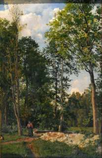 Fine Antique Russian Master Oil Painting Picking Berries at Forest