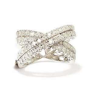 14k White Gold Diamond Criss Cross Ring (Size 7.5) Jewelry