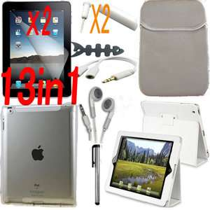 13 ACCESSORY WHITE LEATHER CASE+SCREEN COVER FOR APPLE IPAD 2