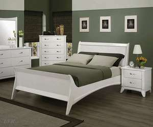 NEW ELEANOR WHITE FINISH WOOD QUEEN OR EASTERN KING BED