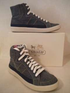 Coach Ellis Denim High Top Fashion Sneaker Tennis Shoe