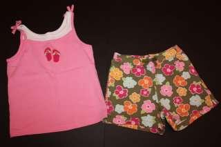 Gymboree FLORAL REEF Knit Tank & Shorts Set Flip Flop 6 EUC