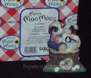 Enesco Mary Moo Moos Me & Moo Cow Couple Covered Box #212784 MINT IN