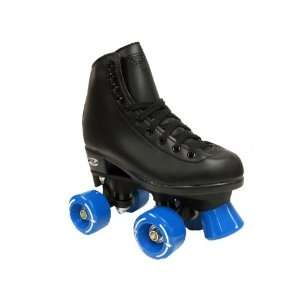 Riedell Wave Black Boots with Blue Wheels and Toe Stops