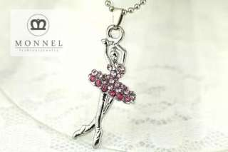 A11 Cute Pink Crystal Ballet Dancer Charms Pendant Necklace (+Gift Box