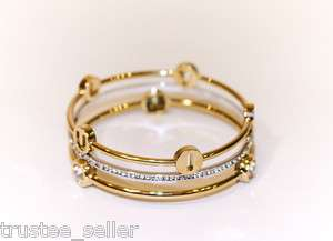 NIB JUICY COUTURE Pave Crystal 3 Stackable Bangle Set Bracelets in