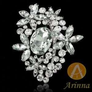 flowers rhinestone fashion Brooch Pin 18K WGP Swarovski Crystal