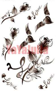 This auction is for 3 sheets of Heart Rose Tribal Temporary Tattoos.