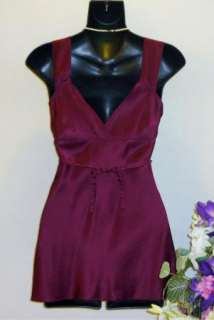 WET SEAL Womens Cranberry Silk Cami Top Tank Shirt Tie Back Size S