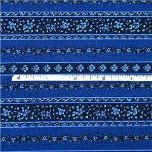 FabriQuilt Cotton Fabric, Cobalt Blue Floral Stripe FQs