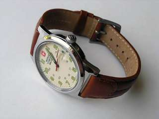 WENGER GENUINE SWISS ARMY MILITARY TIME WATCH BEIGE DIAL LEATHER BAND