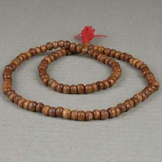 Wooden Natural Brown Mala Prayer Bead Necklace Buddhist Hindu