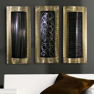 Contemporary Abstract Metal Wall Art Decor Sculpture Gold/BlackGolden