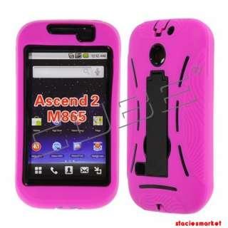 Huawei Ascend II M865 Hot Pink Skin on Black Snap Kickstand Case Cove