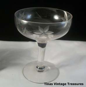 Elegant Crystal Glass Stemware Wine Glass Etched Flower Design
