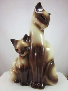 Vintage Kron Siamese Cat Ceramic Tv Lamp Light Glowing