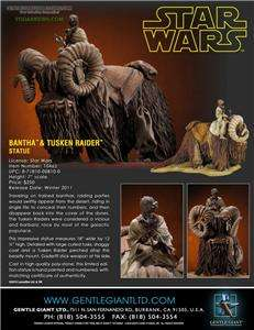 Star Wars Bantha and Tusken Raider STATUE 12 inches tall GENTLE GIANT