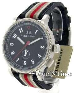 New Burberry Mens Classic Black Nova Check Dial Leather Endurance