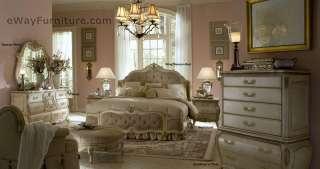 White Wood King Mansion Bed Master Bedroom Furniture