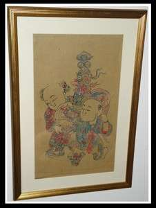 Unusual Antique Chinese Watercolor Painting NR