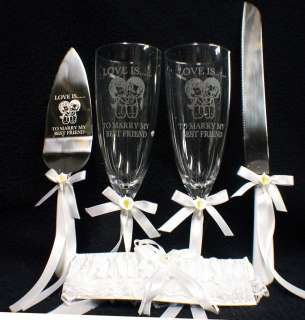 LOVE IS.To Marry My Best Friend Wedding LOT Glasses Cake Knife