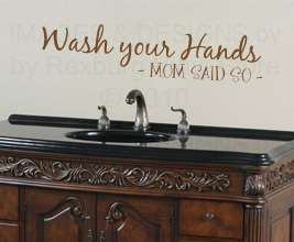 Wash Your Hands Mom Vinyl Wall Sticker Art Inspirational Decal