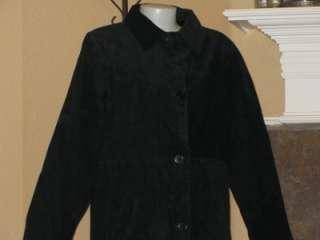CENTIGRADE Black Full Length Washable Suede Ladies Coat Small