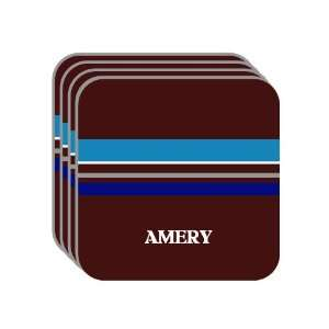 Personal Name Gift   AMERY Set of 4 Mini Mousepad Coasters (blue