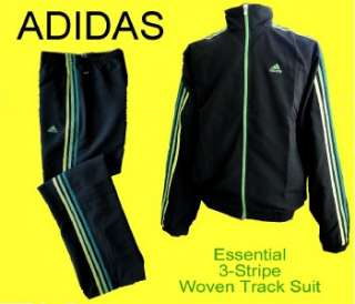 Essential 3 Stripe Woven WARM UP SUIT Track JACKET PANTS S Black