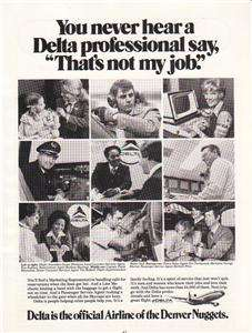 1979 Delta Airlines Magazine Ad. Denver Nuggets Airline