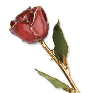 Long Stem Dipped 24K Gold Trim Cinnamon Pearl Lacquered Genuine Rose w