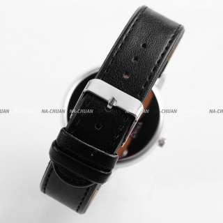 New Fashion Pencil Boy Girl Lady Black Leather Wrist Quartz Watch