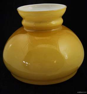 Vintage YELLOW CASE GLASS Student Lamp SHADE Light Fixture GLOBE c