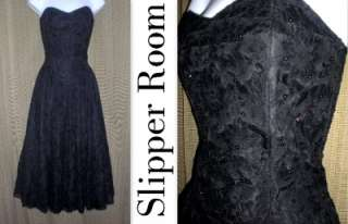 VTG LACE BEADED PROM PARTY COCKTAIL DRESS GOWN evening formal 80s