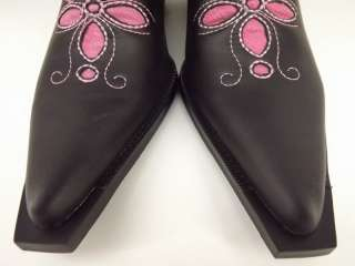 NIB Womens cowboy boots black pink vegan Roper Rockstar 10 M cut out