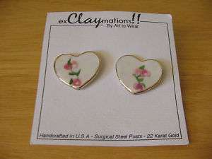 EXCLAYMATIONS Porcelain 22K Trim Heart Valentines Day Pierced Earrings
