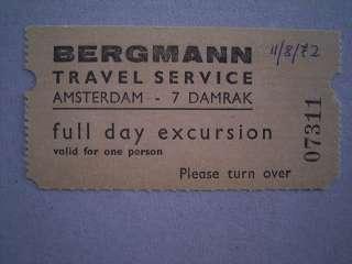 BERGMANN TRAVEL SERVICE TICKET AMSTERDAM 1972