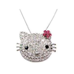 X Large Pink Flower Kitty Charm Necklace Silver Tone