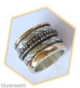 spinner ring garnets braided spinning bague argent or anillo