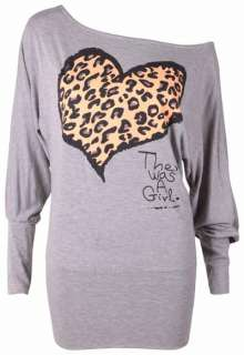 OFF SHOULDER BATWING STRETCH LADIES ANIMAL LEOPARD PRINT HEART TOP